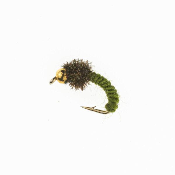 Caddis larva olive FL0048-12 Onlineflugor
